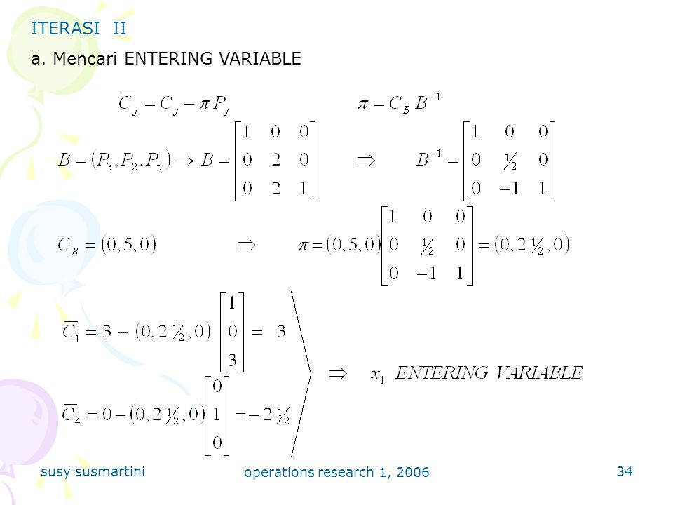 a. Mencari ENTERING VARIABLE
