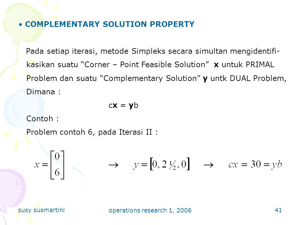 COMPLEMENTARY SOLUTION PROPERTY