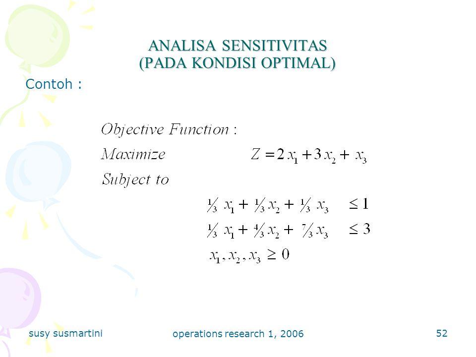 ANALISA SENSITIVITAS (PADA KONDISI OPTIMAL)