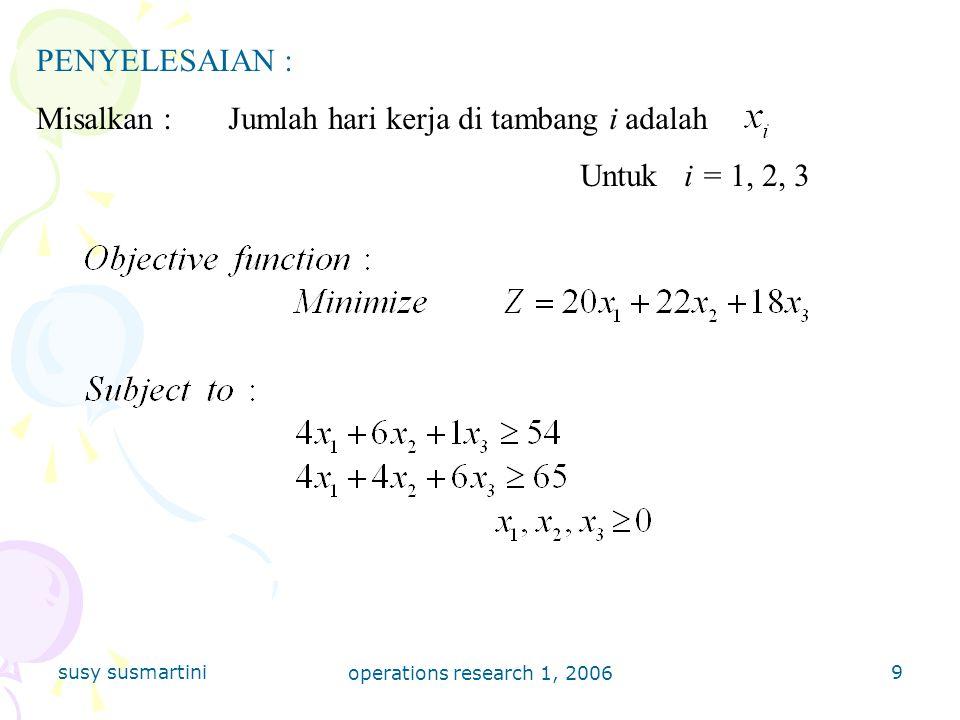 Misalkan : Jumlah hari kerja di tambang i adalah Untuk i = 1, 2, 3