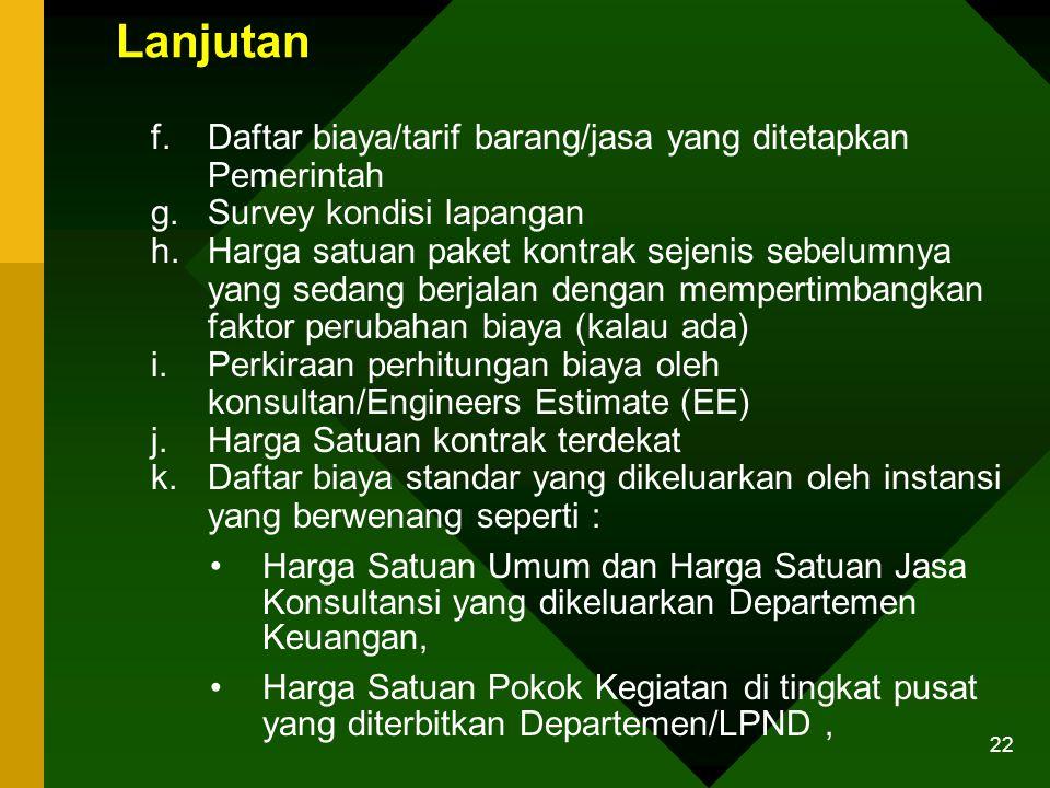 Lanjutan Daftar biaya/tarif barang/jasa yang ditetapkan Pemerintah