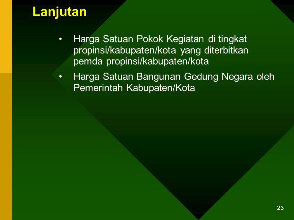 Lanjutan Harga Satuan Pokok Kegiatan di tingkat propinsi/kabupaten/kota yang diterbitkan pemda propinsi/kabupaten/kota.