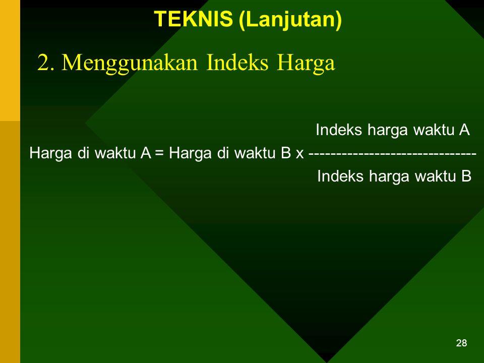2. Menggunakan Indeks Harga