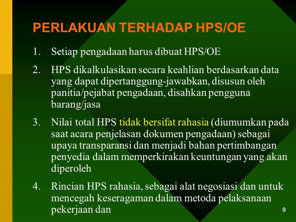 PERLAKUAN TERHADAP HPS/OE