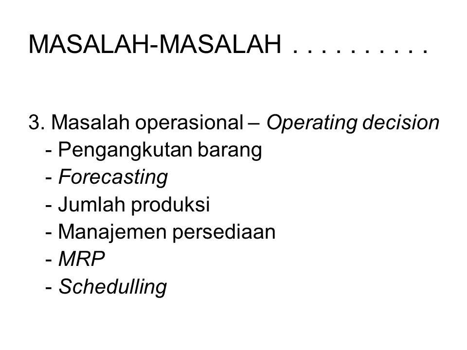 MASALAH-MASALAH . . . . . . . . . . 3. Masalah operasional – Operating decision. - Pengangkutan barang.