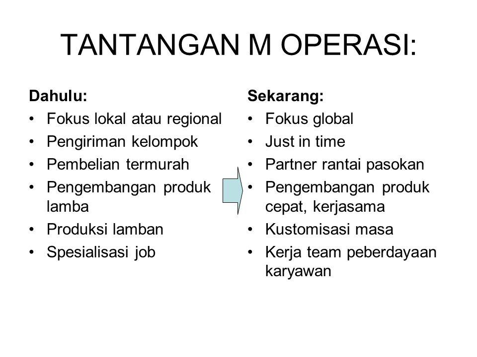 TANTANGAN M OPERASI: Dahulu: Fokus lokal atau regional