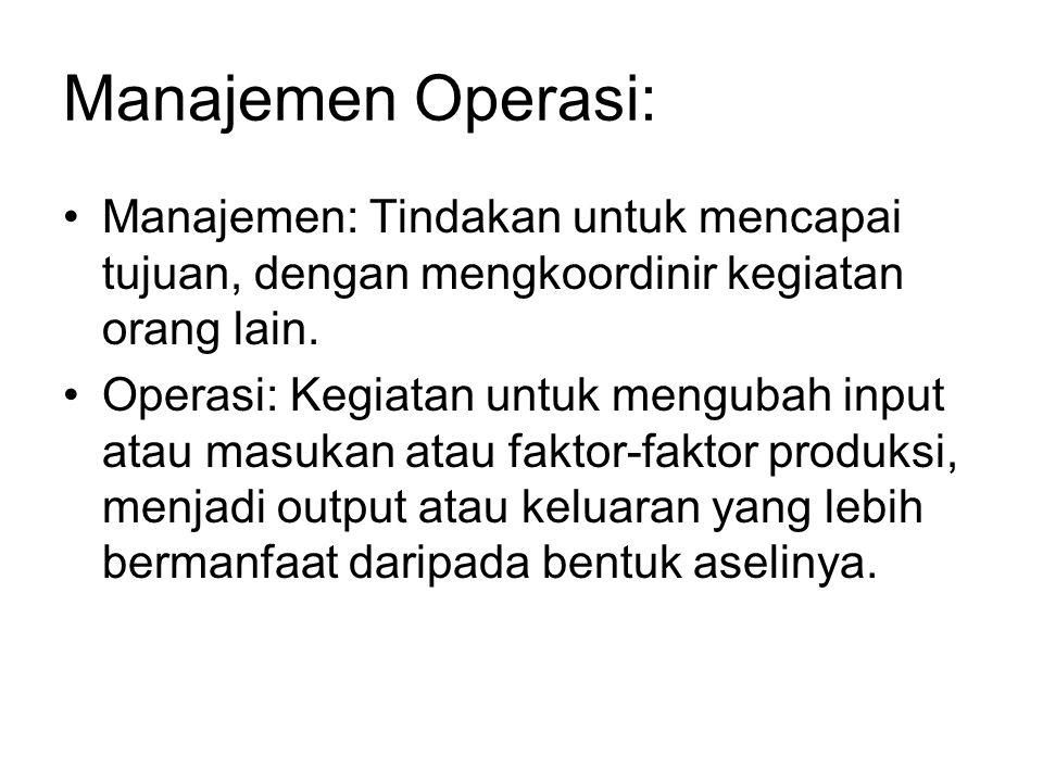 Manajemen Operasi: Manajemen: Tindakan untuk mencapai tujuan, dengan mengkoordinir kegiatan orang lain.