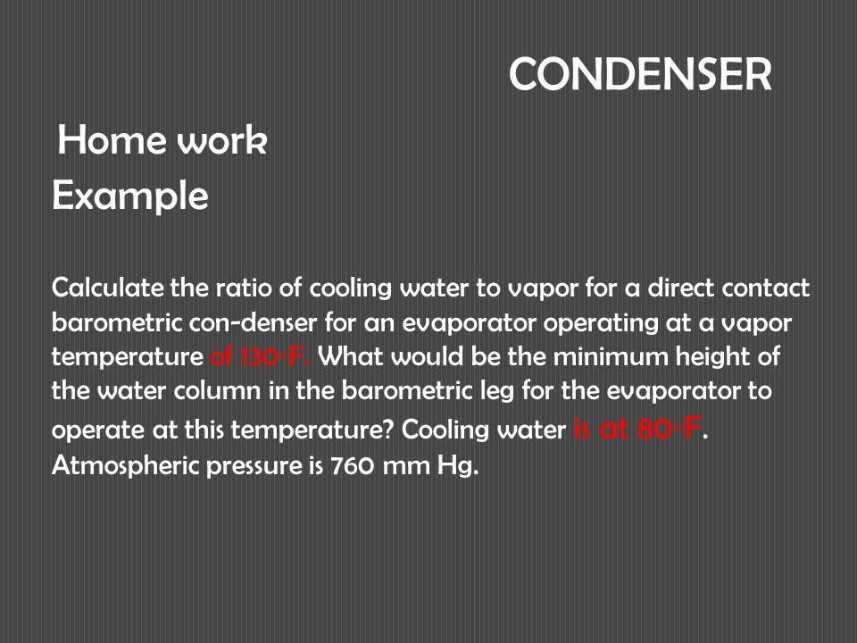 CONDENSER Home work Example