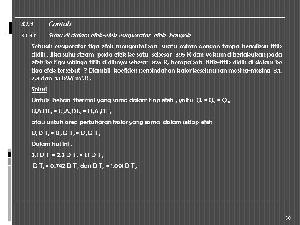 3.1.3 Contoh 3.1.3.1 Suhu di dalam efek-efek evaporator efek banyak