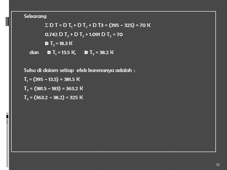Sekarang Σ D T = D T1 + D T2 + D T3 = (395 - 325) = 70 K 0