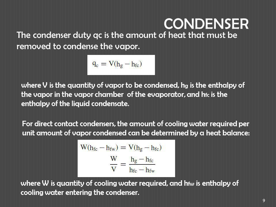 CONDENSER The condenser duty qc is the amount of heat that must be removed to condense the vapor.