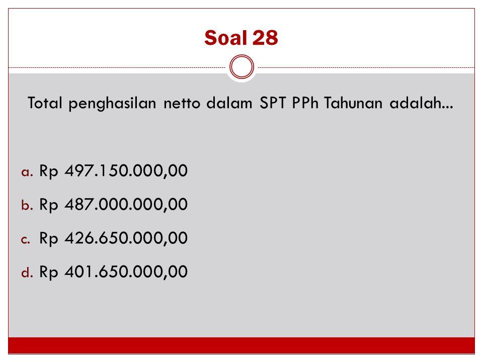 Total penghasilan netto dalam SPT PPh Tahunan adalah...