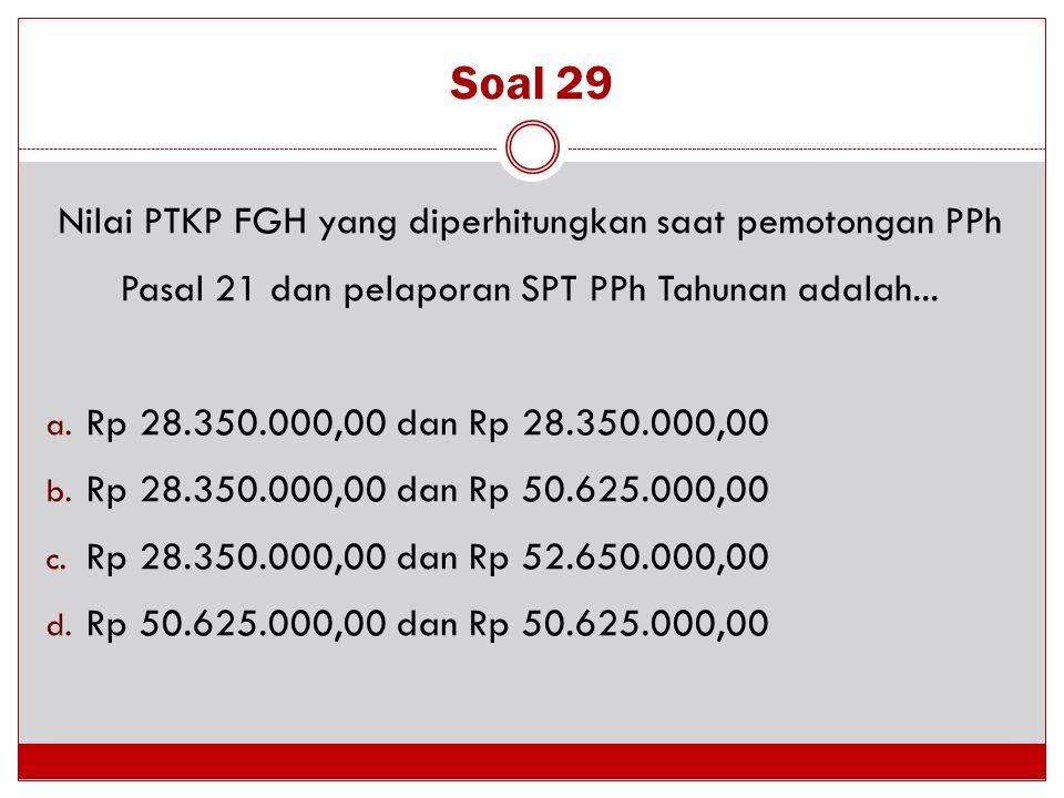 Soal 29 Nilai PTKP FGH yang diperhitungkan saat pemotongan PPh Pasal 21 dan pelaporan SPT PPh Tahunan adalah...