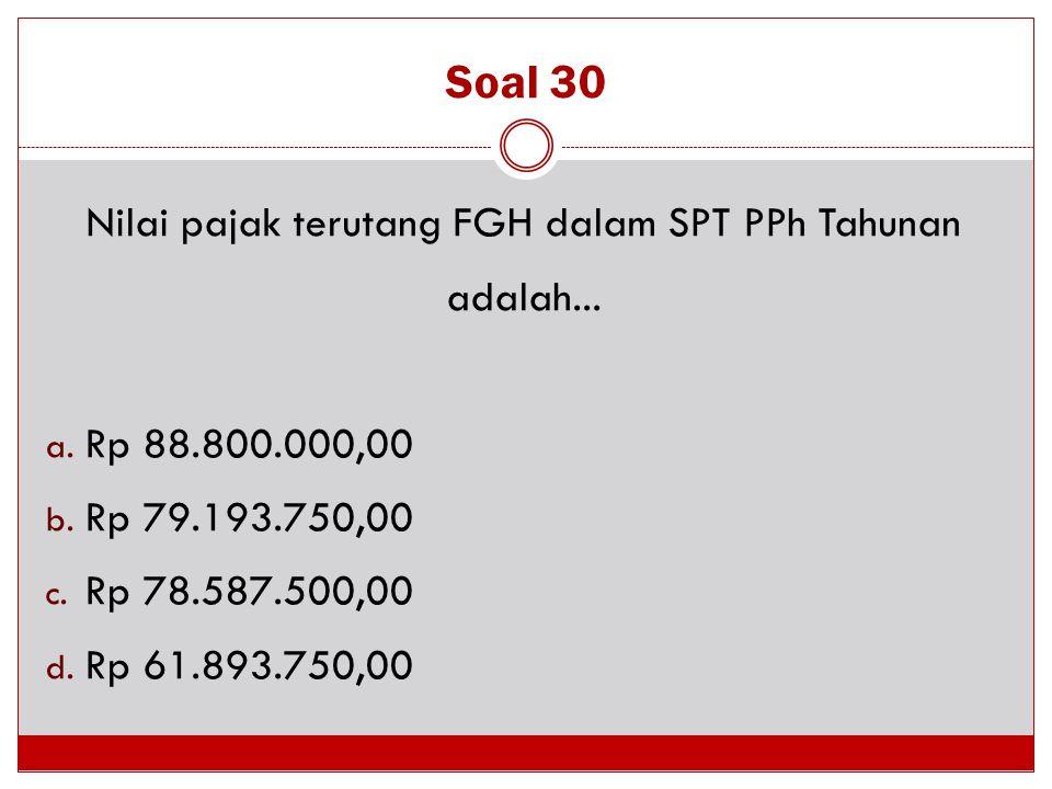 Nilai pajak terutang FGH dalam SPT PPh Tahunan adalah...