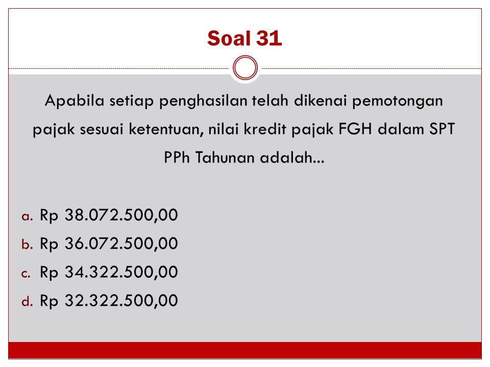 Soal 31 Apabila setiap penghasilan telah dikenai pemotongan pajak sesuai ketentuan, nilai kredit pajak FGH dalam SPT PPh Tahunan adalah...