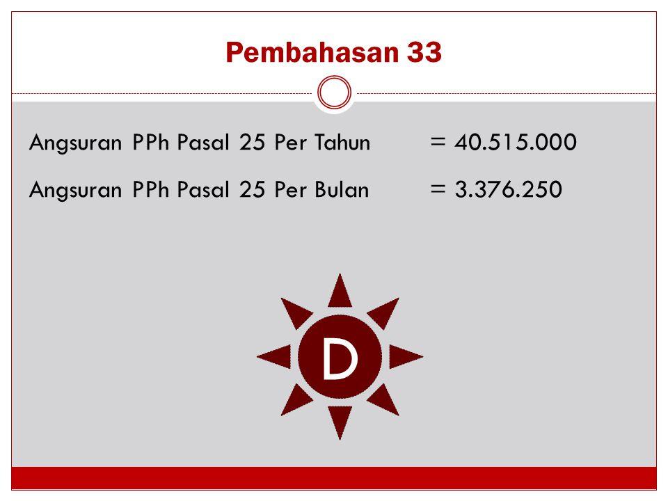 D Pembahasan 33 Angsuran PPh Pasal 25 Per Tahun = 40.515.000