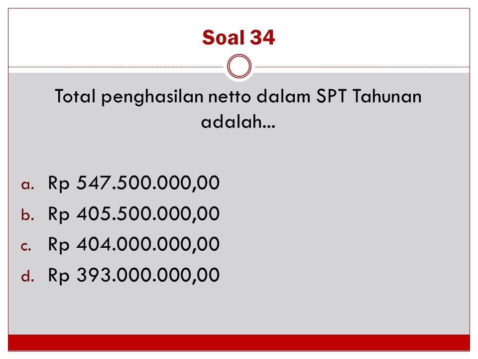 Total penghasilan netto dalam SPT Tahunan adalah...