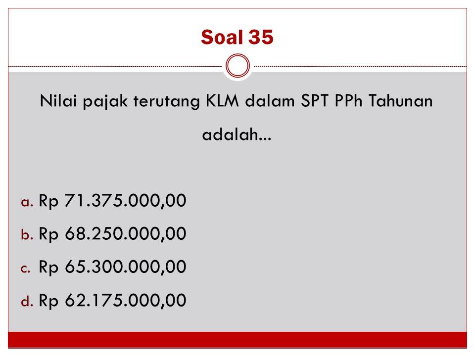 Nilai pajak terutang KLM dalam SPT PPh Tahunan adalah...