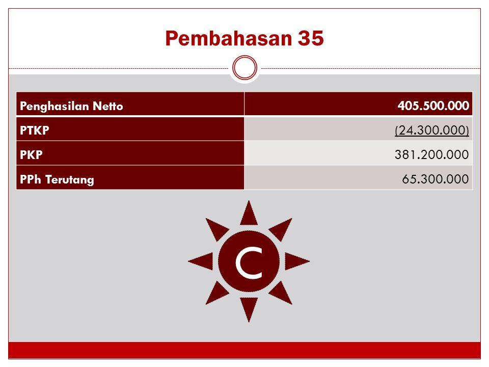 C Pembahasan 35 Penghasilan Netto 405.500.000 PTKP (24.300.000) PKP