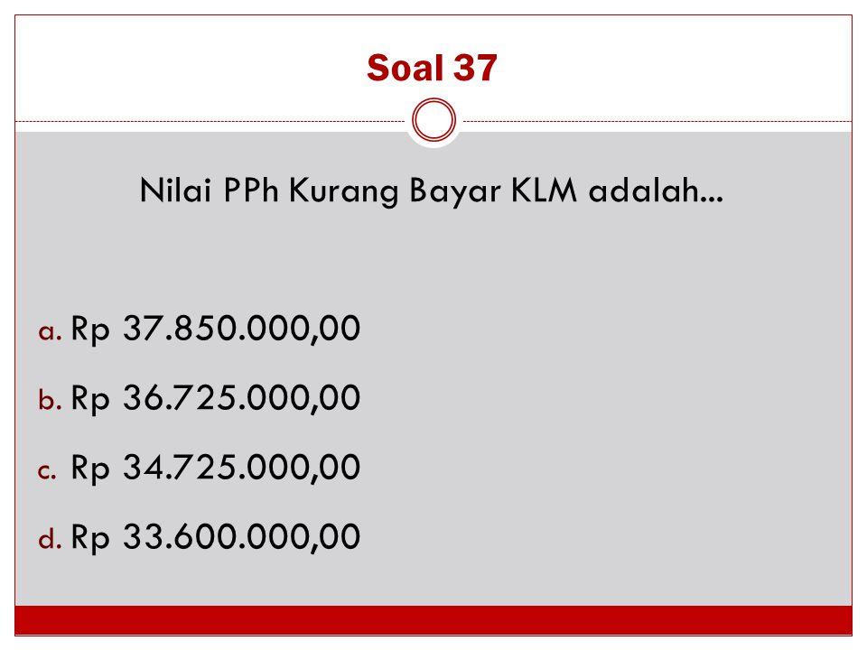 Nilai PPh Kurang Bayar KLM adalah...