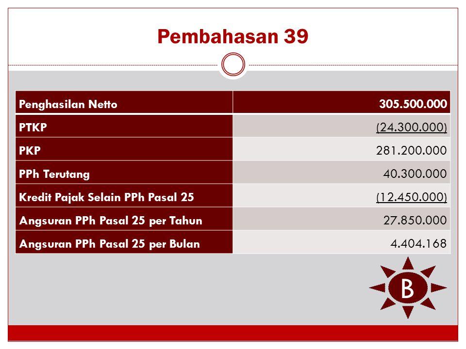 B Pembahasan 39 Penghasilan Netto 305.500.000 PTKP (24.300.000) PKP