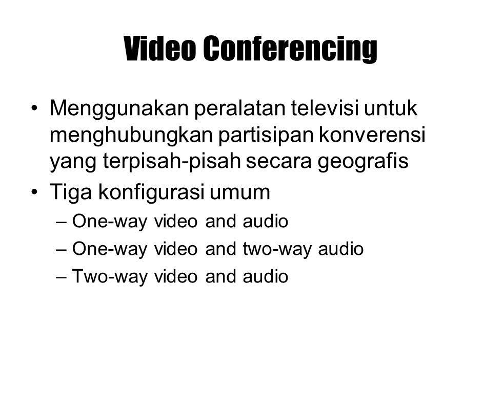 Video Conferencing Menggunakan peralatan televisi untuk menghubungkan partisipan konverensi yang terpisah-pisah secara geografis.