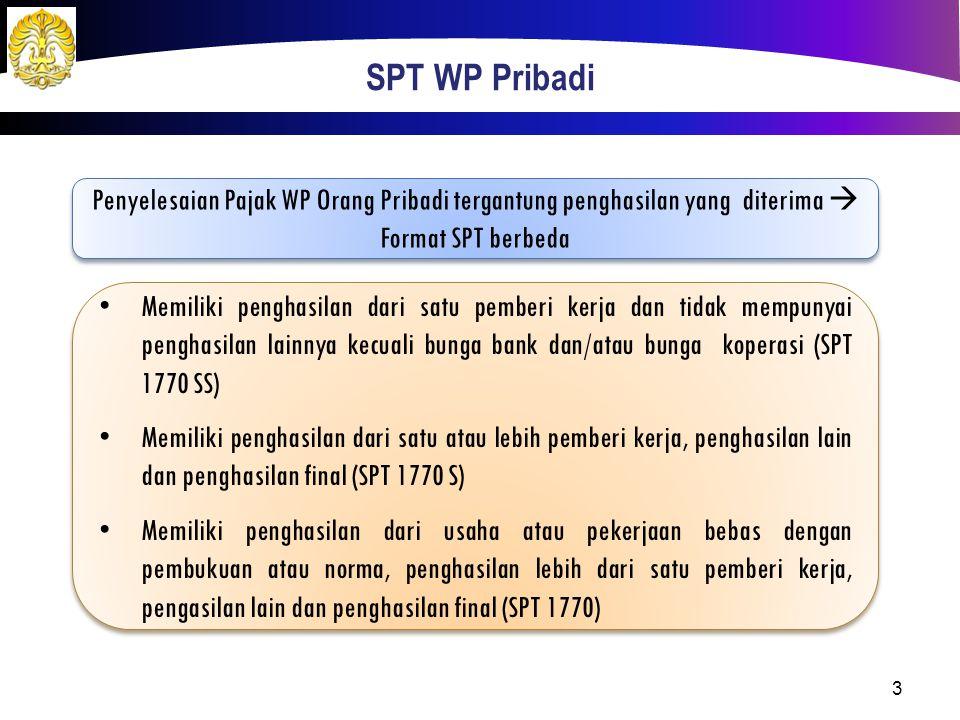 SPT WP Pribadi Penyelesaian Pajak WP Orang Pribadi tergantung penghasilan yang diterima  Format SPT berbeda.