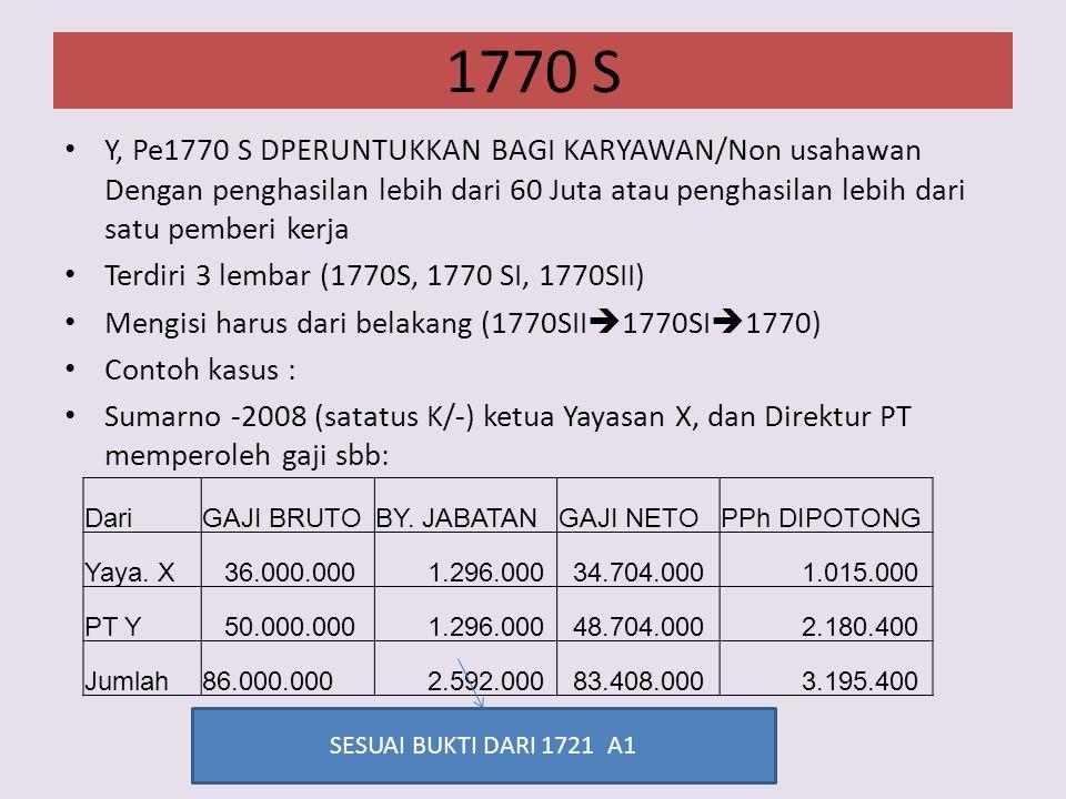 1770 S Y, Pe1770 S DPERUNTUKKAN BAGI KARYAWAN/Non usahawan Dengan penghasilan lebih dari 60 Juta atau penghasilan lebih dari satu pemberi kerja.