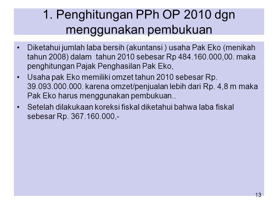 1. Penghitungan PPh OP 2010 dgn menggunakan pembukuan