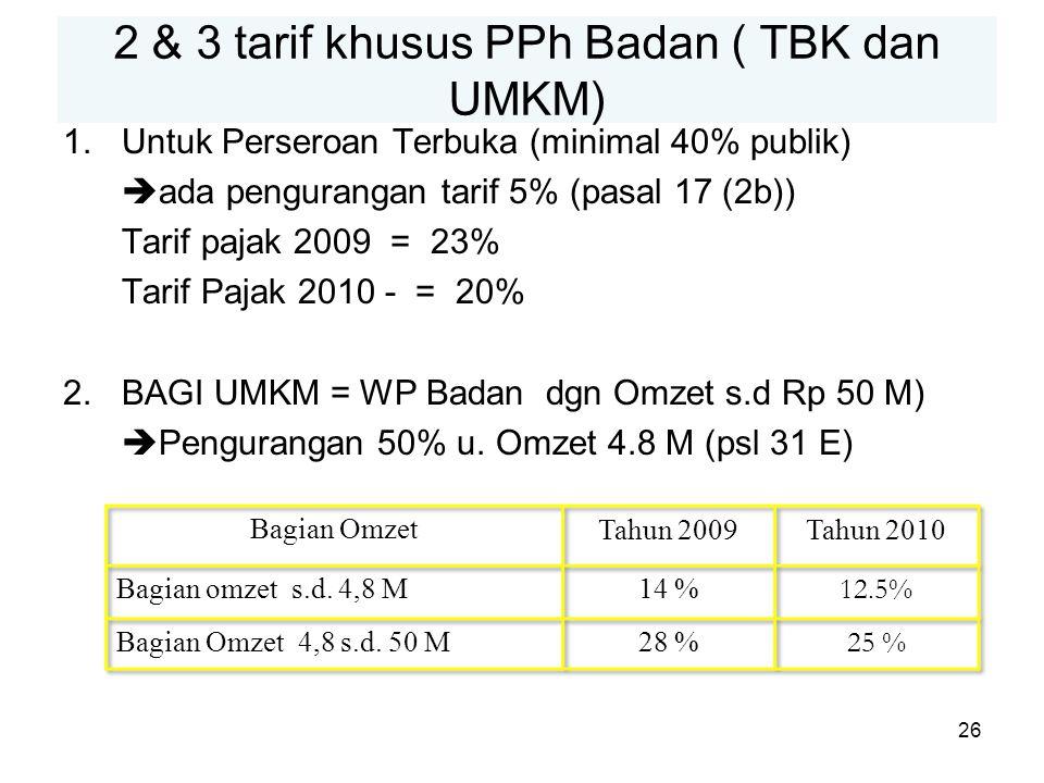 2 & 3 tarif khusus PPh Badan ( TBK dan UMKM)