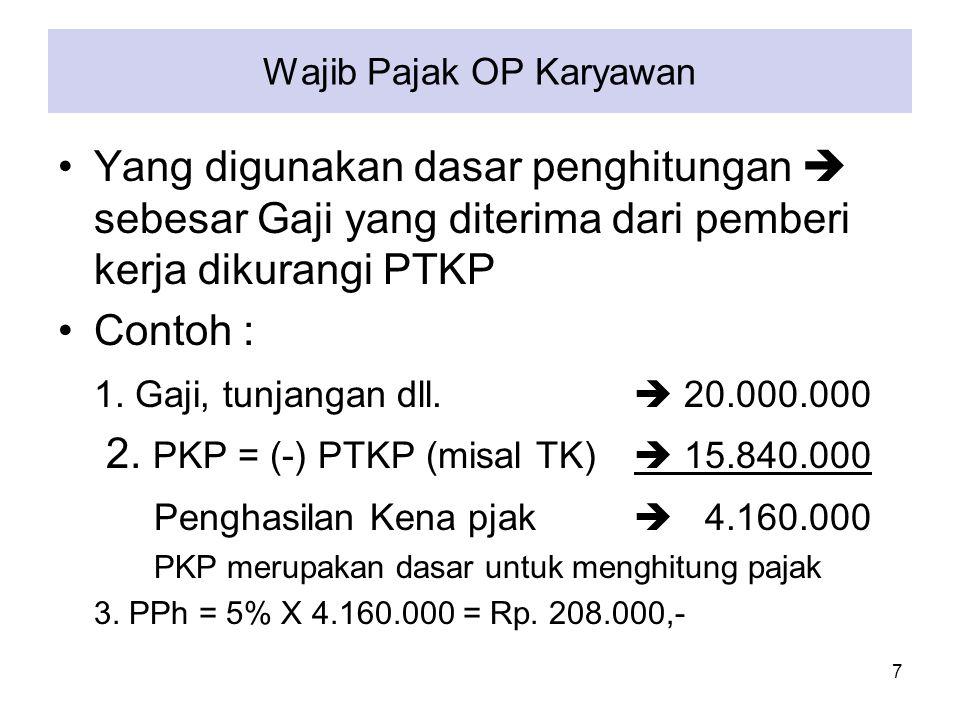 Wajib Pajak OP Karyawan