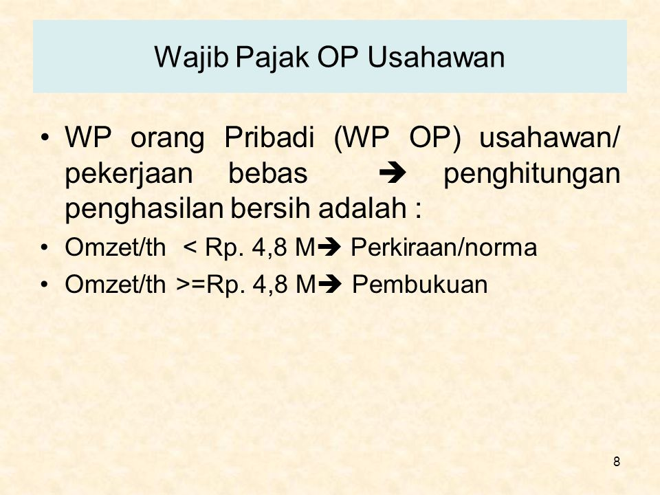 Wajib Pajak OP Usahawan