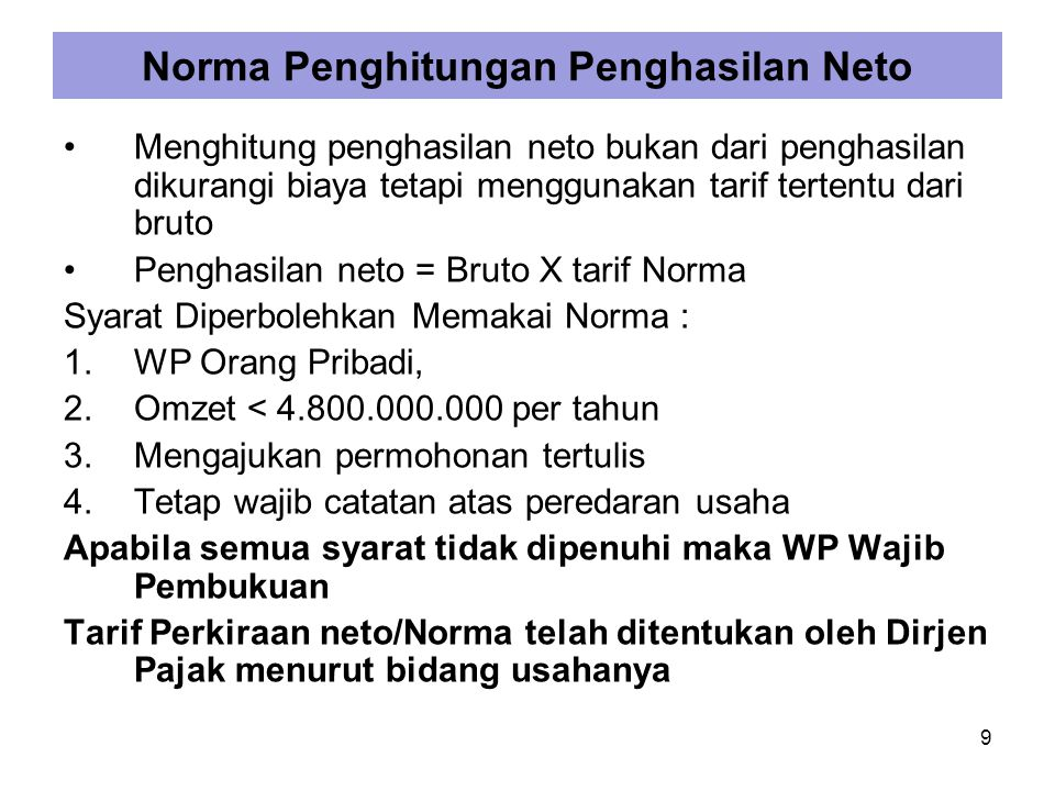 Norma Penghitungan Penghasilan Neto