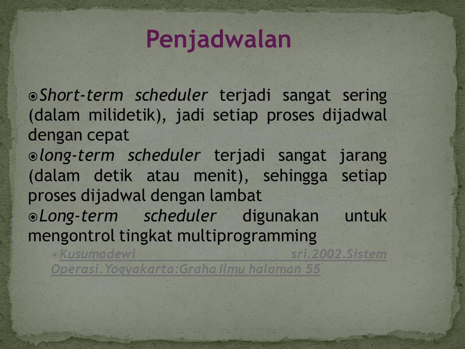 Penjadwalan Short-term scheduler terjadi sangat sering (dalam milidetik), jadi setiap proses dijadwal dengan cepat.