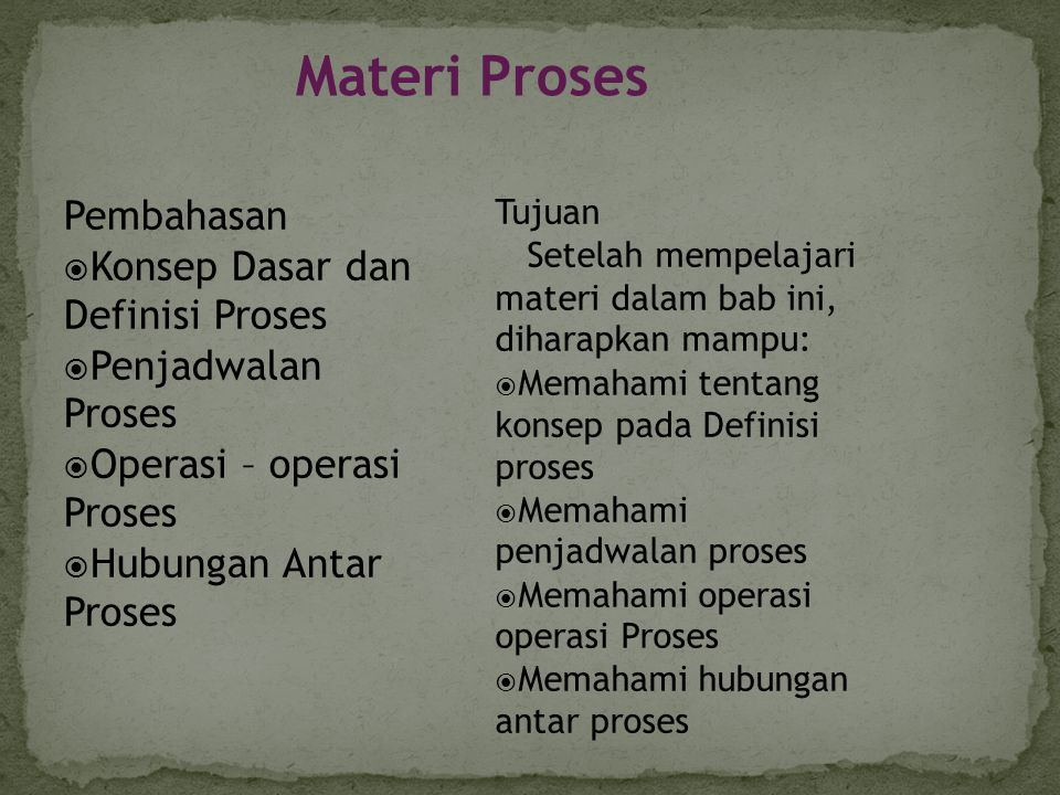 Materi Proses Pembahasan Konsep Dasar dan Definisi Proses