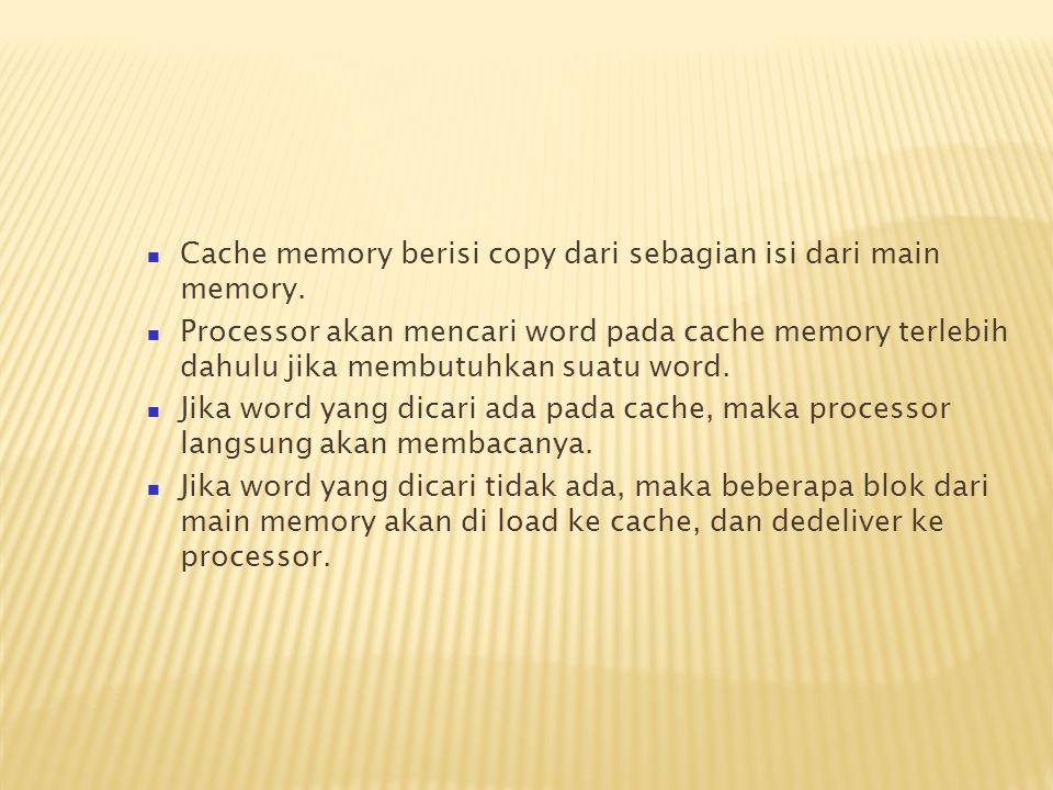Cache memory berisi copy dari sebagian isi dari main memory.