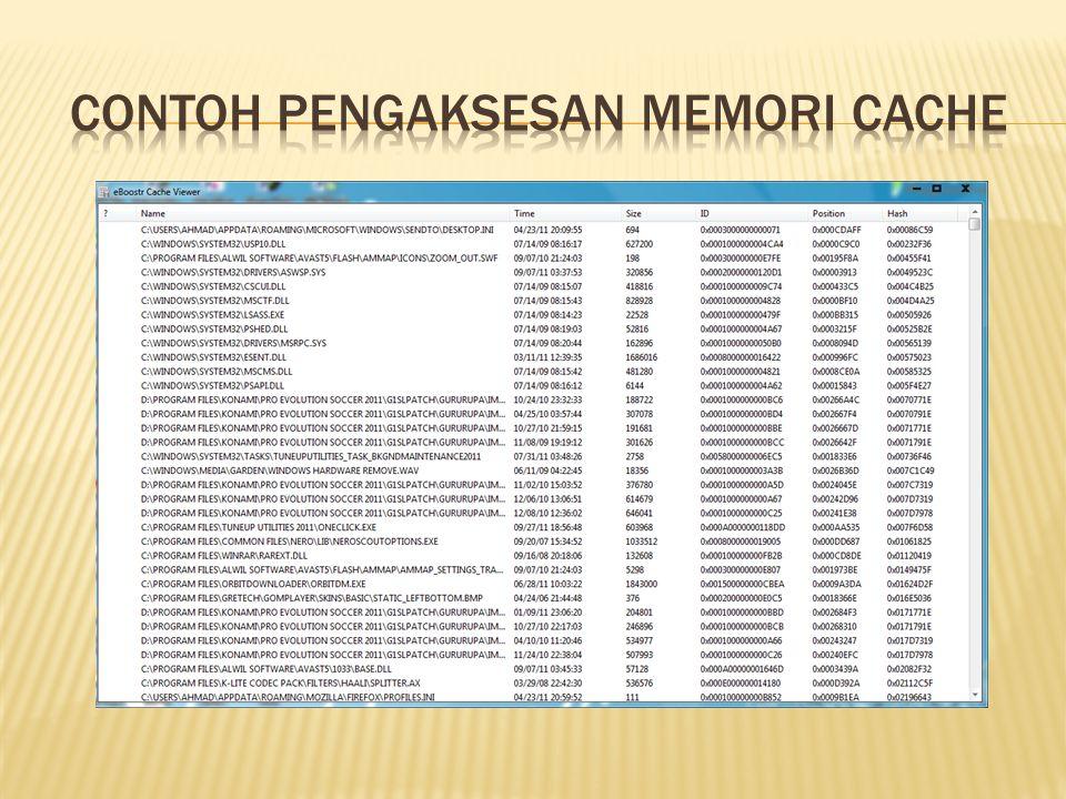CONTOH PENGAKSESAN MEMORI CACHE