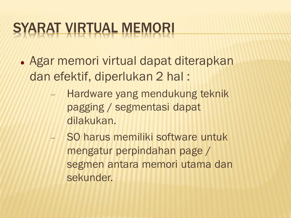 Syarat Virtual Memori Agar memori virtual dapat diterapkan dan efektif, diperlukan 2 hal :