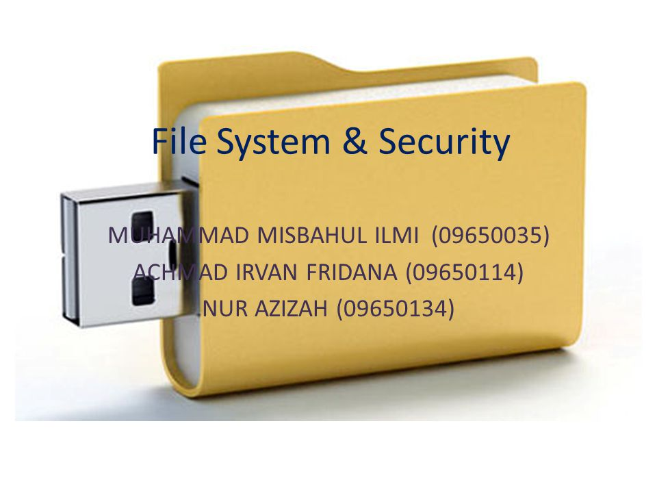 File System & Security MUHAMMAD MISBAHUL ILMI (09650035)