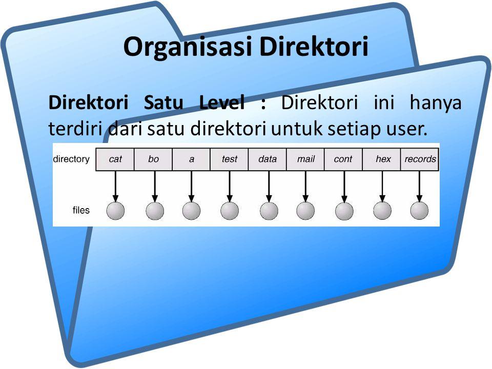 Organisasi Direktori Direktori Satu Level : Direktori ini hanya terdiri dari satu direktori untuk setiap user.