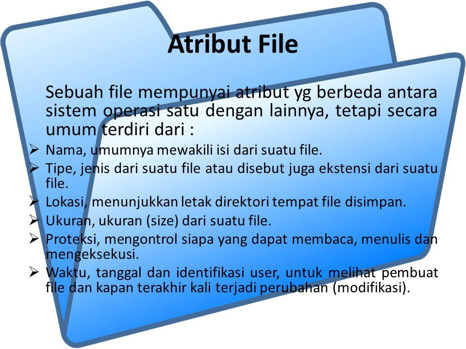 Atribut File Sebuah file mempunyai atribut yg berbeda antara sistem operasi satu dengan lainnya, tetapi secara umum terdiri dari :