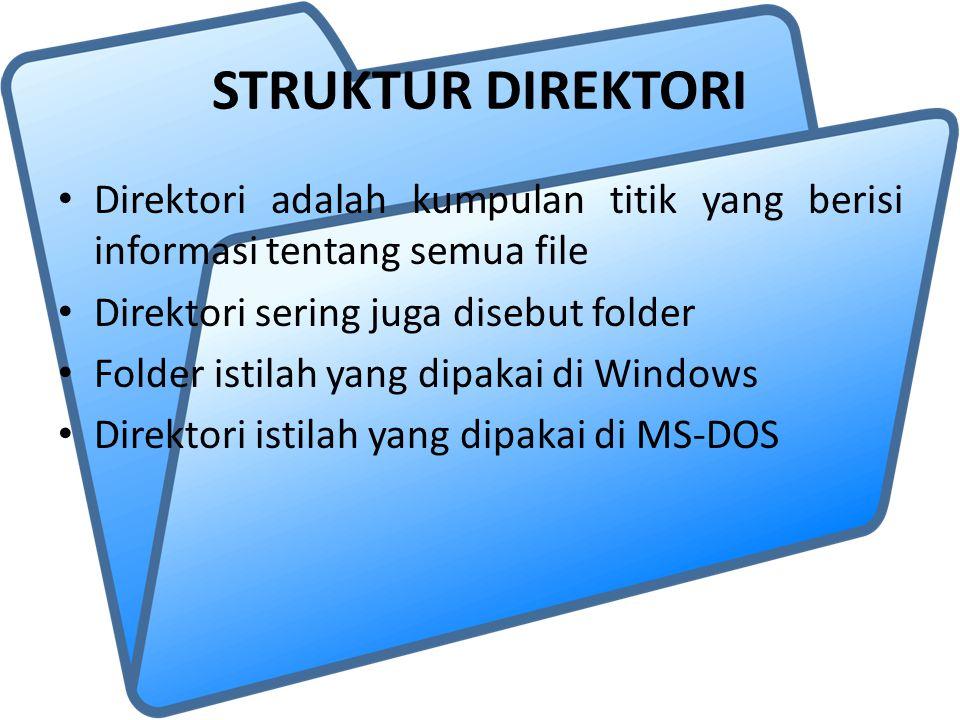 STRUKTUR DIREKTORI Direktori adalah kumpulan titik yang berisi informasi tentang semua file. Direktori sering juga disebut folder.