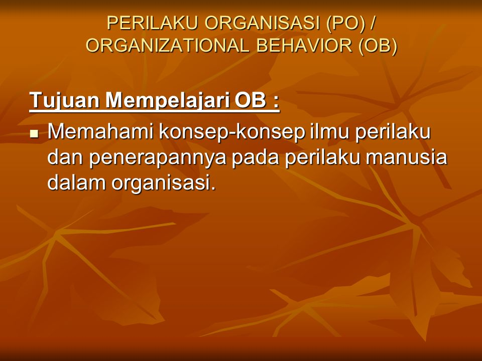 PERILAKU ORGANISASI (PO) / ORGANIZATIONAL BEHAVIOR (OB)