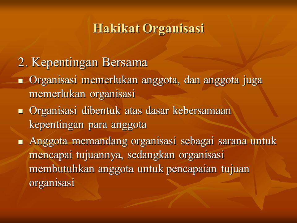 Hakikat Organisasi 2. Kepentingan Bersama