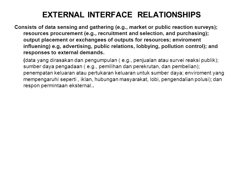 EXTERNAL INTERFACE RELATIONSHIPS