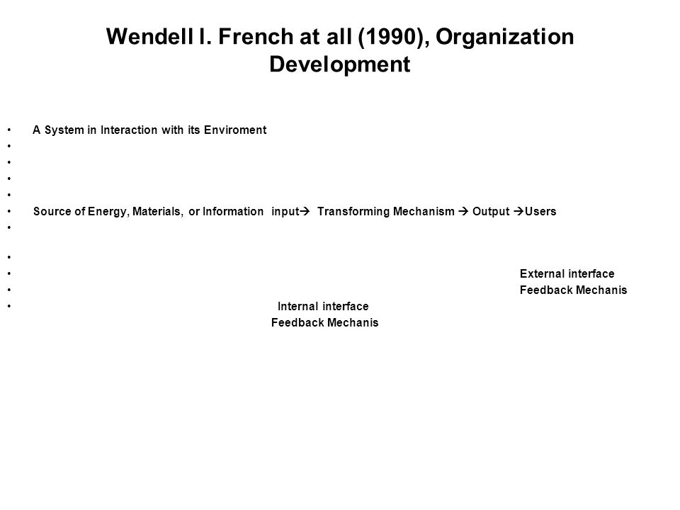 Wendell l. French at all (1990), Organization Development
