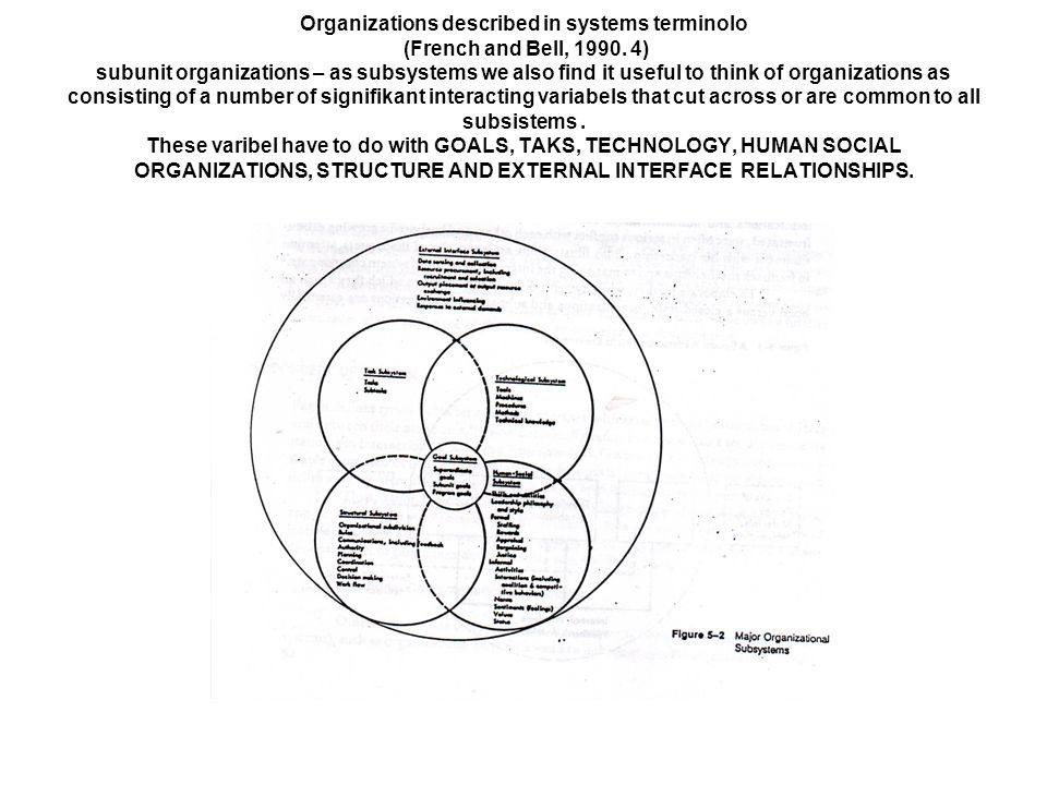 Organizations described in systems terminolo (French and Bell, 1990