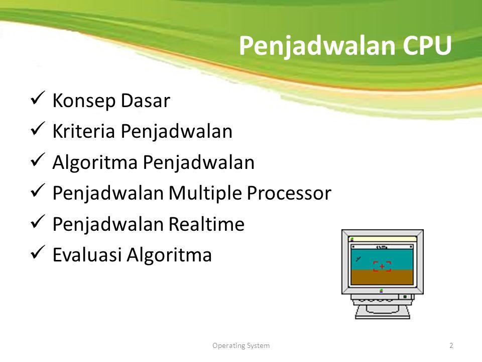 Penjadwalan CPU Konsep Dasar Kriteria Penjadwalan