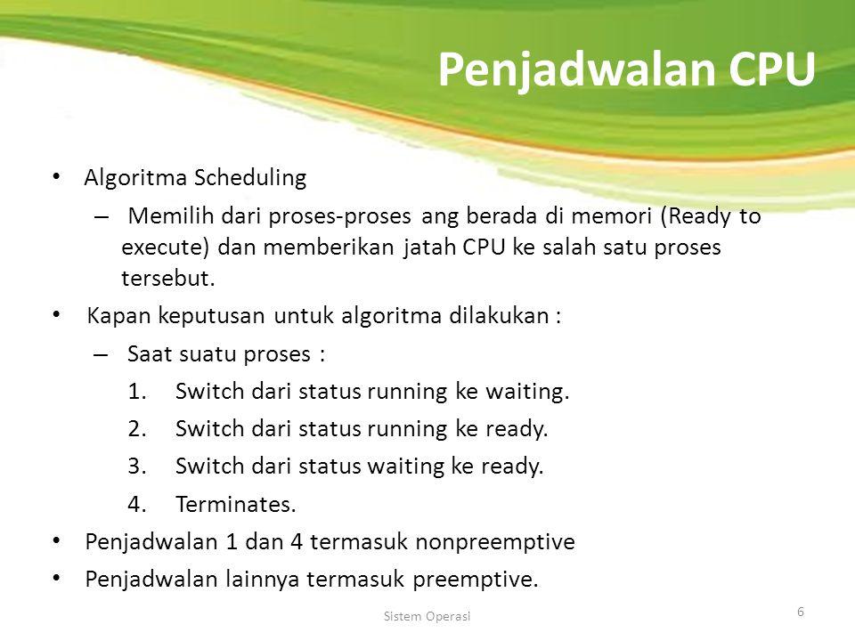 Penjadwalan CPU Algoritma Scheduling