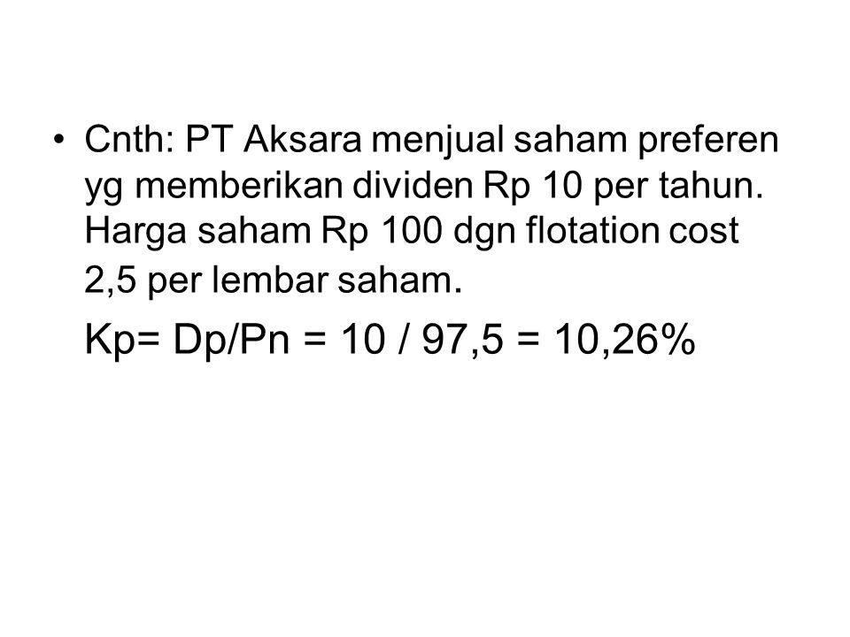 Cnth: PT Aksara menjual saham preferen yg memberikan dividen Rp 10 per tahun. Harga saham Rp 100 dgn flotation cost 2,5 per lembar saham.